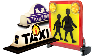 Different taxi roof signs from Pointguard